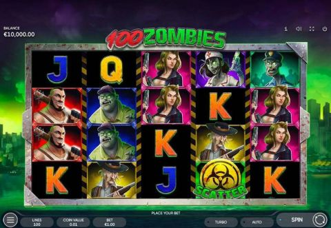 100 Zombies Fun Slots by Endorphina with 5 Reel and 100 Line
