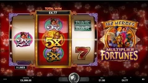108 Heroes Multiplier Fortune Fun Slots by Microgaming with 3 Reel and 3 Line