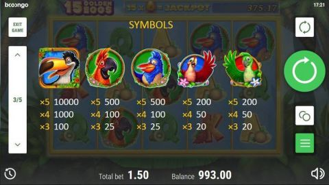 15 Golden Eggs Fun Slots by Booongo with 5 Reel and 15 Line