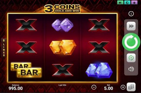 3 Coins Fun Slots by Booongo with 3 Reel and 5 Line