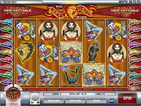 5 Reel Circus Fun Slots by Rival with 5 Reel and 15 Line