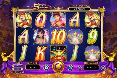 5 Wishes Fun Slots by RTG with 5 Reel and 25 Line