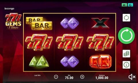 777 Gems Fun Slots by Booongo with 3 Reel and 5 Line
