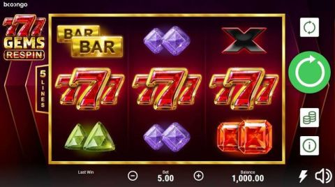 777 Gems: Respin Fun Slots by Booongo with 3 Reel and 5 Line