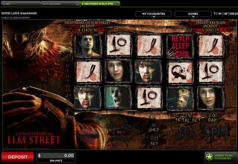 A Nightmare on Elm Street Fun Slots by 888 with 5 Reel and 30 Line