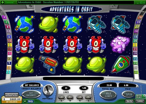Adventures in Orbit Fun Slots by 888 with 5 Reel and 25 Line