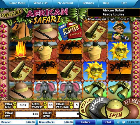 African Safari Fun Slots by Leap Frog with 5 Reel and 30 Line