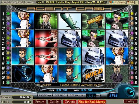Agent Cash Fun Slots by WGS Technology with 5 Reel and 30 Line
