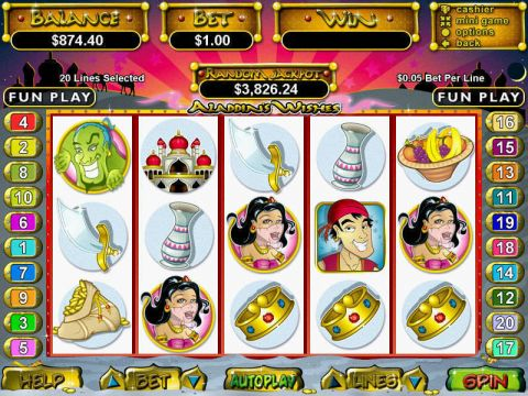 Aladdin's Wishes Fun Slots by RTG with 5 Reel and 20 Line