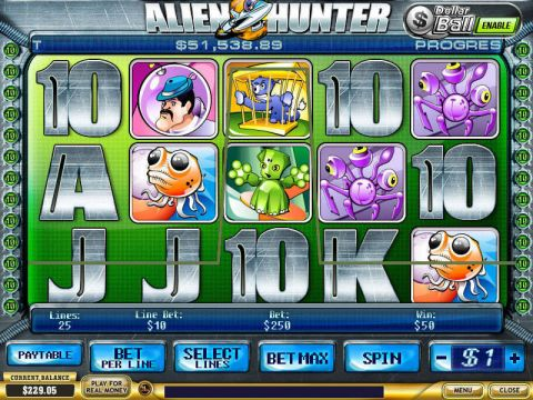 Alien Hunter Fun Slots by PlayTech with 5 Reel and 25 Line