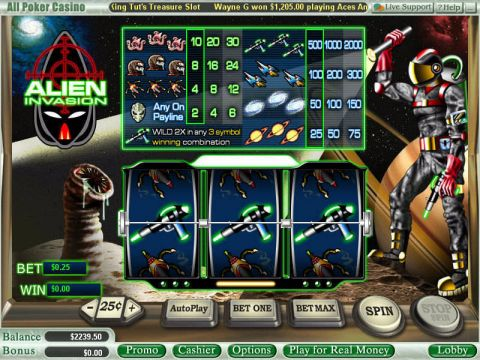 Alien Invasion Fun Slots by WGS Technology with 3 Reel and 1 Line