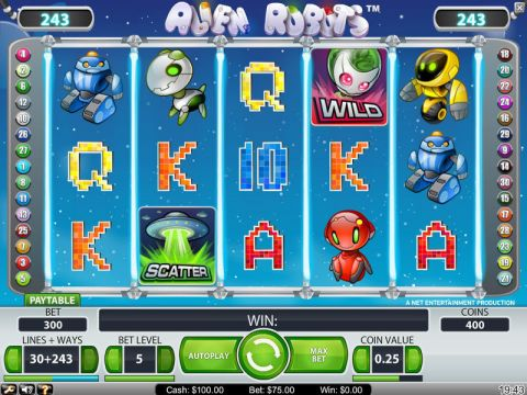 Alien Robots Fun Slots by NetEnt with 5 Reel and 243 Line