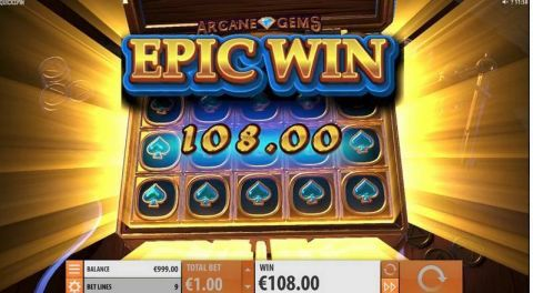 Arcane Gems Fun Slots by Quickspin with 5 Reel and 9 Line