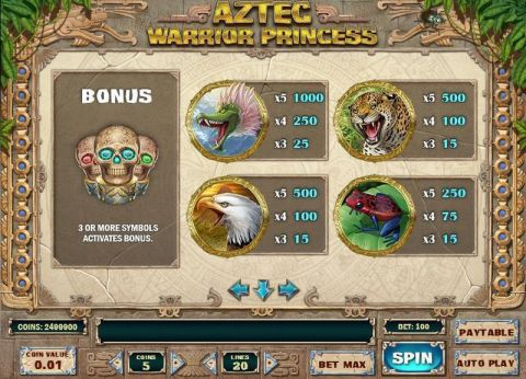 Aztec Warrior Princess Fun Slots by Play'n GO with 5 Reel and 20 Line