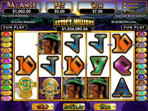 Aztec's Millions Fun Slots by RTG with 5 Reel and 25 Line