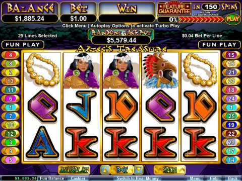 Aztec's Treasure Feature Guarantee Fun Slots by RTG with 5 Reel and 25 Line