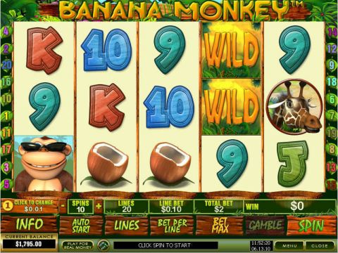 Banana Monkey Fun Slots by PlayTech with 5 Reel and 20 Line