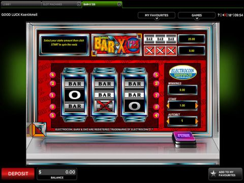 BAR-X 125 Fun Slots by 888 with 3 Reel and 5 Line