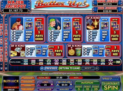 Batter Up Fun Slots by NuWorks with 5 Reel and 25 Line