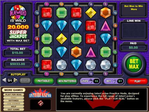Bejeweled Fun Slots by CryptoLogic with 0 Reel and 10 Line