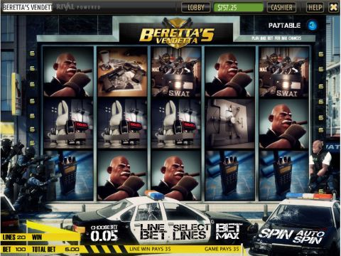Beretta's Vendetta Fun Slots by Sheriff Gaming with 5 Reel and 20 Line