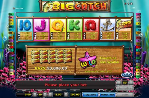 Big Catch Fun Slots by Novomatic with 5 Reel and 20 Line