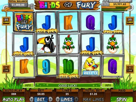 Birds of Fury Fun Slots by RTG with 5 Reel and 25 Line