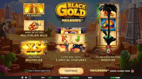Black Gold Megaways Fun Slots by StakeLogic with 6 Reel and 117649 Lines