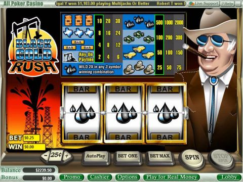 Black Gold Rush Fun Slots by WGS Technology with 3 Reel and 1 Line