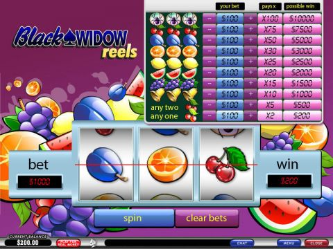 Black Widow Reels Fun Slots by PlayTech with 3 Reel and 1 Line