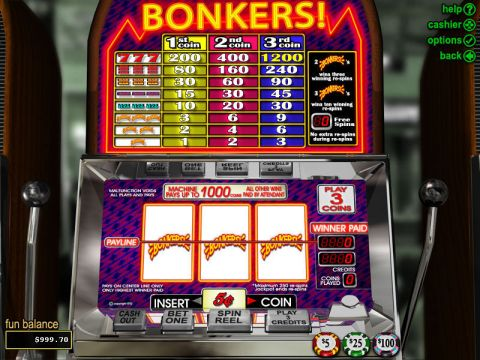 Bonkers Fun Slots by RTG with 3 Reel and 1 Line