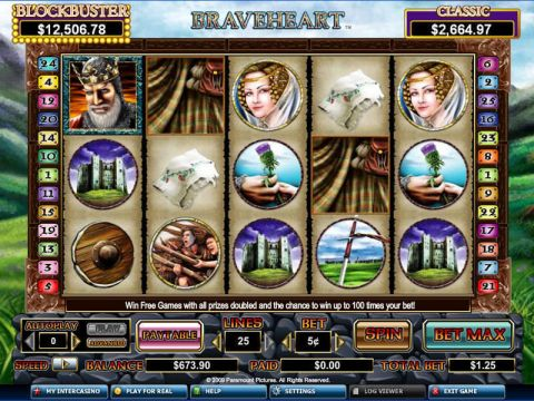 Braveheart Fun Slots by CryptoLogic with 5 Reel and 25 Line