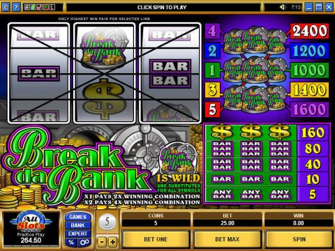 Break Da Bank Fun Slots by Microgaming with 3 Reel and 5 Line