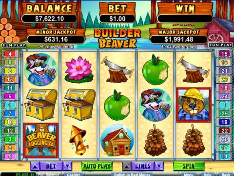 Builder Beaver Fun Slots by RTG with 5 Reel and 25 Line
