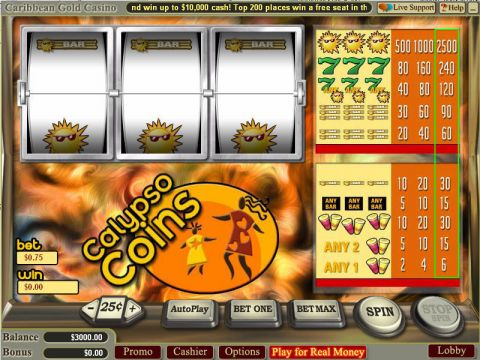 Calypso Coins Fun Slots by Vegas Technology with 3 Reel and 1 Line