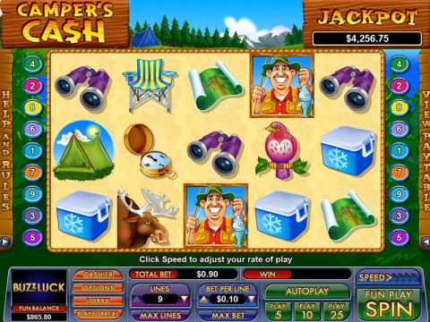 Camper's Cash Fun Slots by NuWorks with 5 Reel and 9 Line