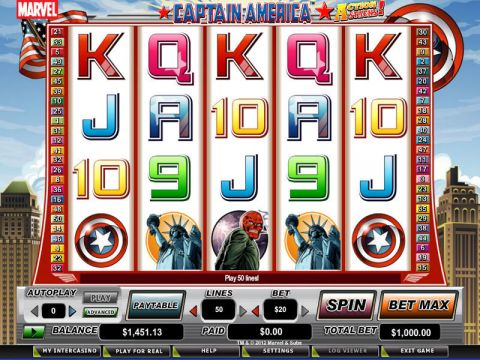 Captain America - Action Stacks! Fun Slots by CryptoLogic with 5 Reel and 50 Line