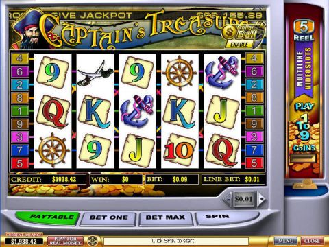 Captain's Treasure Fun Slots by PlayTech with 5 Reel and 9 Line