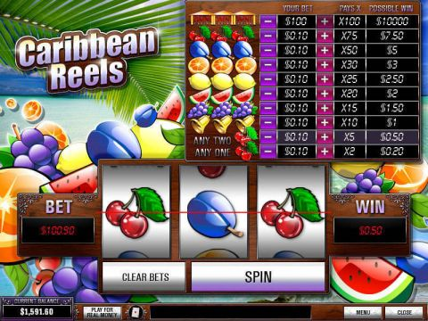 Caribbean Reels Fun Slots by PlayTech with 3 Reel and 1 Line