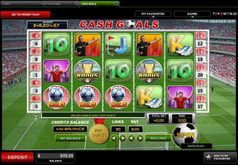 Cash Goals Fun Slots by 888 with 5 Reel and 20 Line