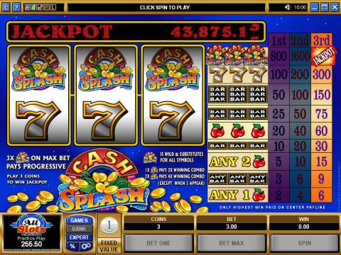 Cash Splash Fun Slots by Microgaming with 3 Reel and 1 Line