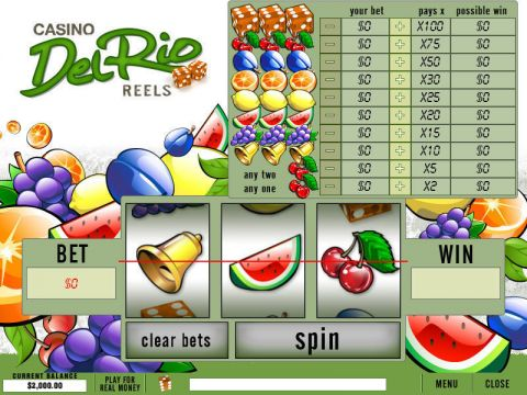 Casino Del Rio Reels Fun Slots by PlayTech with 3 Reel and 1 Line