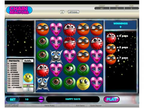 Chain Reactors Fun Slots by bwin.party with 5 Reel and 0 Line