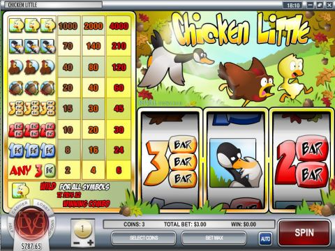 Chicken Little Fun Slots by Rival with 3 Reel and 1 Line