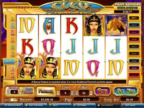Cleo Queen of Egypt Fun Slots by CryptoLogic with 5 Reel and 9 Line