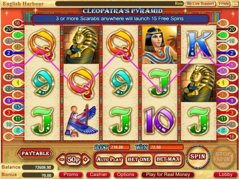 Cleopatra's Pyramid Fun Slots by WGS Technology with 5 Reel and 20 Line