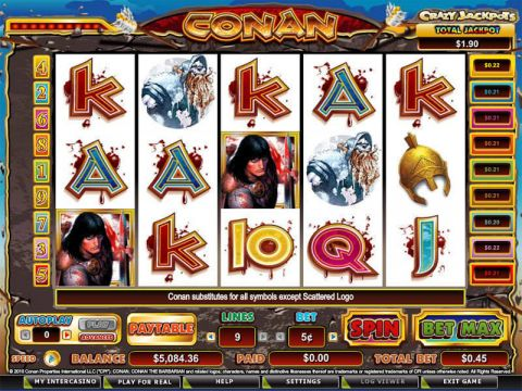 Conan the Barbarian Fun Slots by CryptoLogic with 5 Reel and 9 Line
