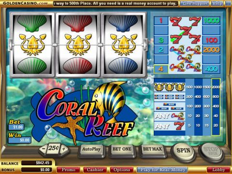 Coral Reef Fun Slots by WGS Technology with 3 Reel and 1 Line