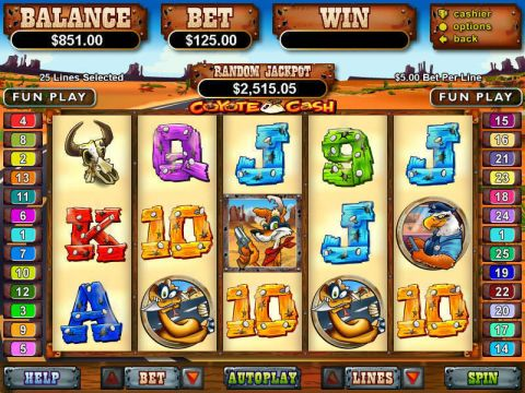 Coyote Cash Fun Slots by RTG with 5 Reel and 25 Line