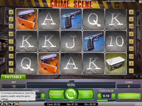 Crime Scene Fun Slots by NetEnt with 5 Reel and 15 Line